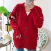 Ribbed Wide Pocket Button Up Outwear Sweater - Red