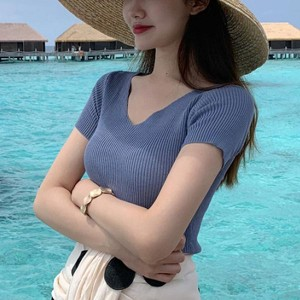 Short-sleeved V-neck Cotton Female Solid Shirt - Blue