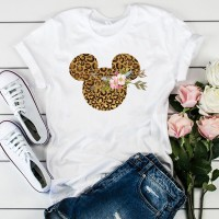 Micky Cartoon Prints Round Neck Casual T-Shirt - Brown