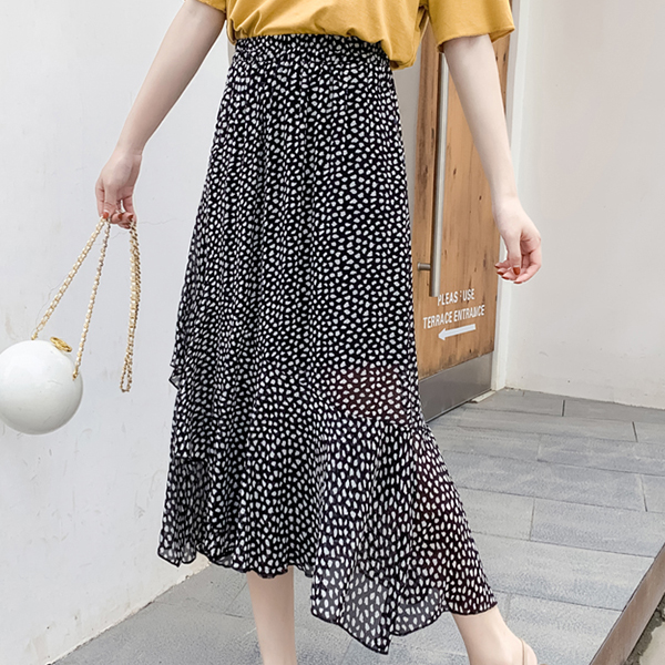 Flared Hem Irregular Chiffon Printed Skirt - Black