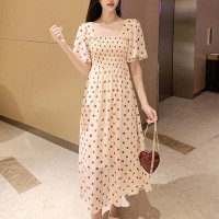 Polka Prints Speaker Sleeves Midi Dress - Apricot