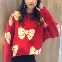 Mid-length Pullover Thick Loose Women Sweaters - Red