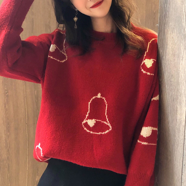 Mid-length Pullover Thick Women Loose Sweaters - Red