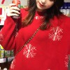 Mid-length Women Pullover Thick Loose Sweaters - Red