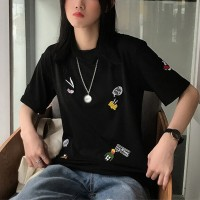 Cartoon Embroidery Casual Loose Women T-shirts - Black