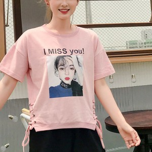 Lace-up Short-sleeved Eyes Printed Women T-shirts - Pink