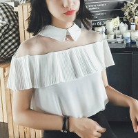 Shirt Collar Frilled Shoulder Formal Blouse - White