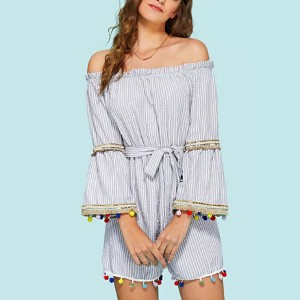 Waist Knotted Stripes Printed Romper