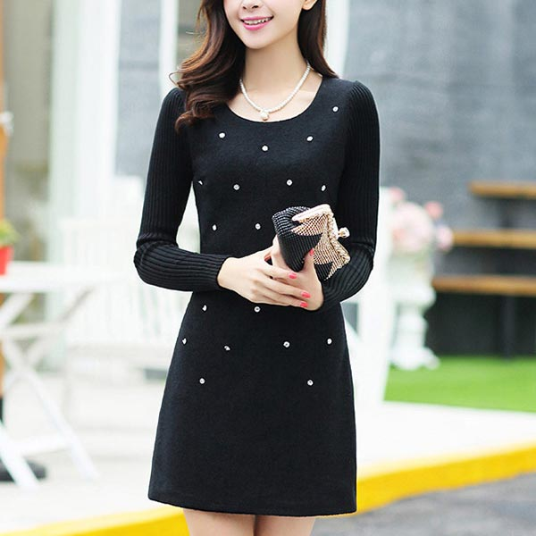 Woolen Long-sleeved Decorated Thick Women Dress - Black