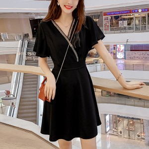 Wrap V Neck Mini Summer Dress - Black