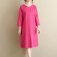 Quarter Sleeves Mid-length loose Ladies dress - Rose Red
