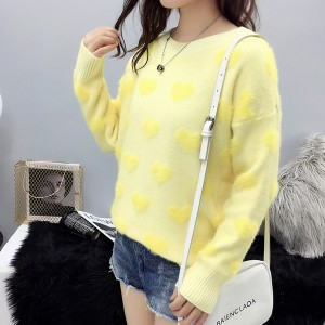 Round Neck Hedging Heart Printed Woolen Sweater - Yellow