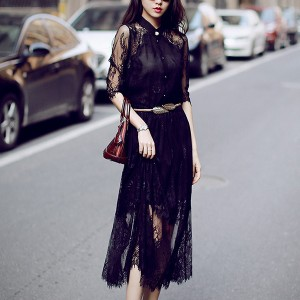 Stand Neck Lace Net Irregular Hem Dress - Black
