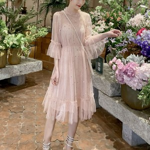 Transparent Net Decorated Round Neck Party Dress - Apricot