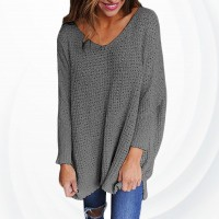 Pullover V Neck Long Sleeves Loose Knitted Sweater - Gray