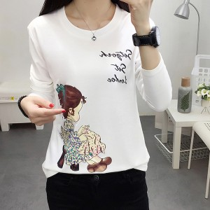 Girl Prints Round Neck Casual T-Shirt - White