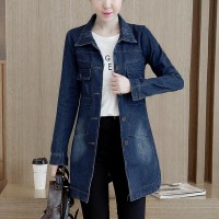 Button Closure Trench Coat Denim Long Jackets - Dark Blue