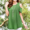 Cold Shoulder Loose Party Top - Green