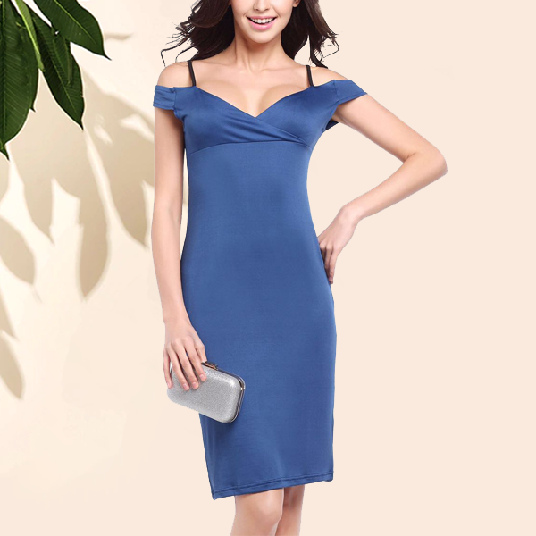 Beautiful Solid Color Off Shoulder Bodycon Blue Dress