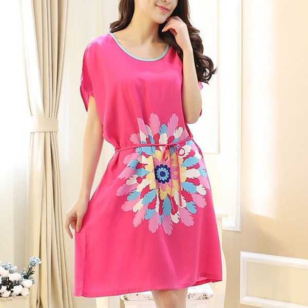 Colorful Prints Short Sleeves Summer Mini Dress - Hot Pink