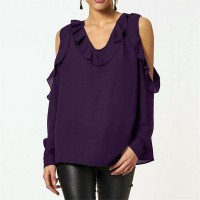 Ruffled V Neck Cold Shoulder Blouse Top - Purple