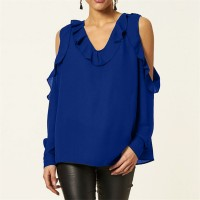 Ruffled V Neck Cold Shoulder Blouse Top - Blue