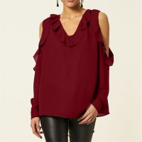 Ruffled V Neck Cold Shoulder Blouse Top - Red