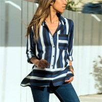 Striped Prints Button Up Full Sleeves Shirt - Blue