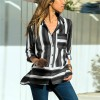 Striped Prints Button Up Full Sleeves Shirt - Gray