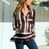Striped Prints Button Up Full Sleeves Shirt - Wine Red