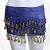 New Style Belly Dance Waist Chain 128 Coins - Blue