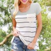 Striped Contrast Lace Short Sleeves T-Shirt - Grey