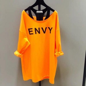 Two-piece Loose Letters Printed Boat Neck Women Shirts