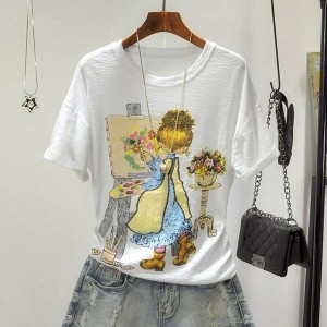 Loose Round Neck T-Shirt Doll Printed Shirt - White