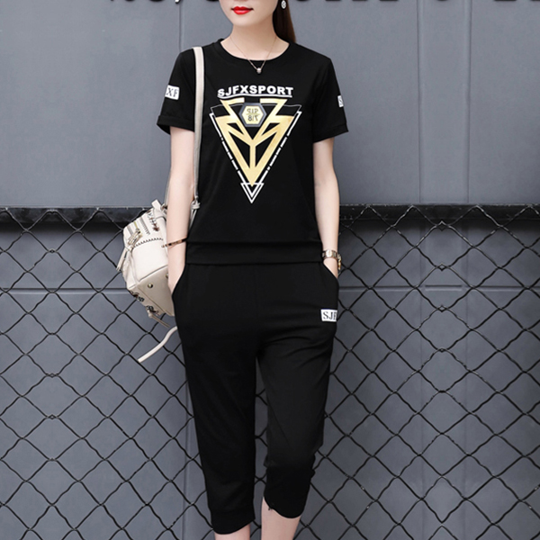 Sports Wear T-Shirt With Casual Trousers - Black
