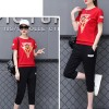Sports Wear T-Shirt With Casual Trousers - Red