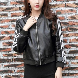 Zipper Closure Denim Loose Female Jackets - Black