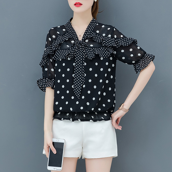 Polka Prints Knotted Neck Blouse Top - Black
