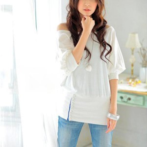Off Shoulder Tops Casual T-shirts Blouse - White