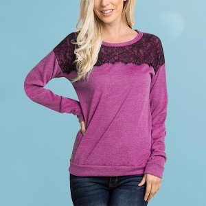 Long Sleeve Patchwork Lace Casual O-neck Sweatshirts - Purple