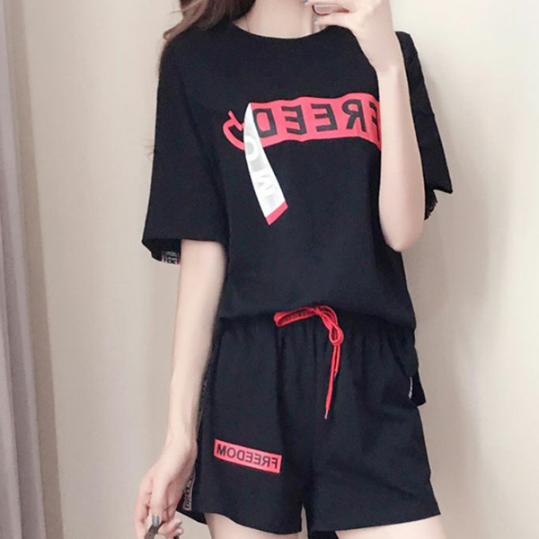 Text Printed Loose Wear T-Shirt With Short Pants - Black
