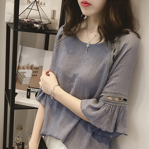 Round Neck Quarter Sleeves Blouse Top - Grey