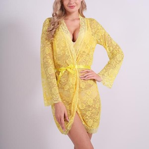 Floral Lace Nightwear Sexy Slim Lingerie - Yellow