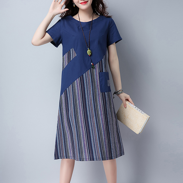 Contrast Striped Front Pocket Casual Midi Dress - Blue