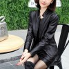 Long Sleeve Pu Leather Two-piece Jackets Skirts - Black