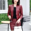 Long Sleeve Pu Leather Two-piece Jackets Skirts - Red4