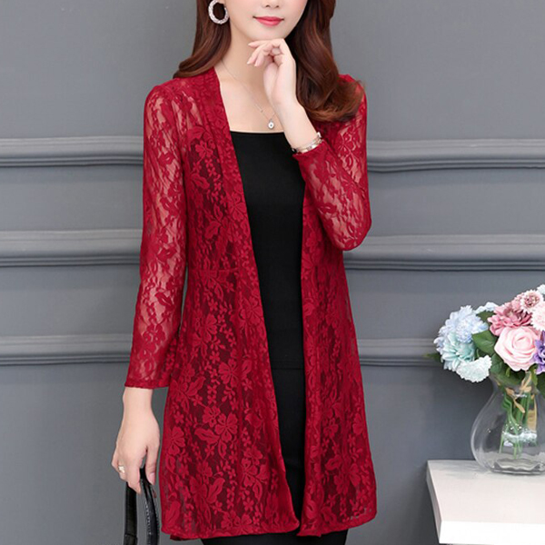 Transparent Lace Textured Full Length Cardigan - Red