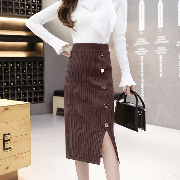 High Waist Mid-length Woolen Split Ladies Skirts - Brown
