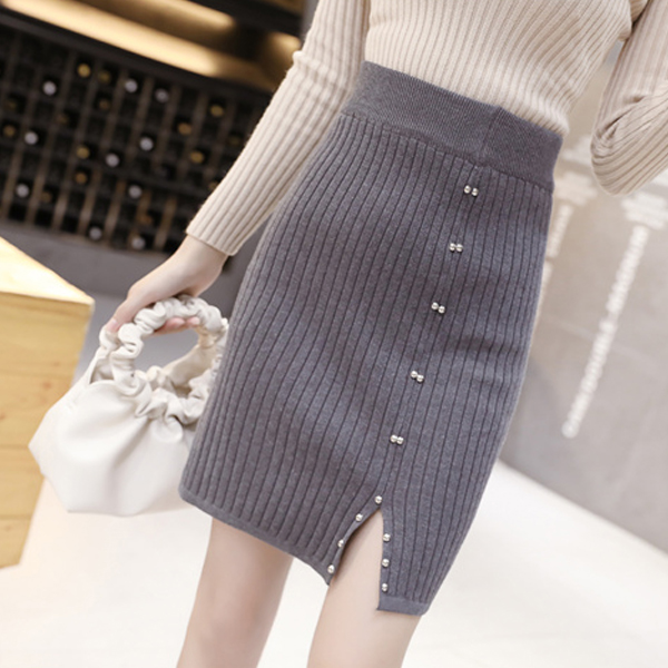 Pearl Ribbed Pattern Mini Length Ladies Skirts - Gray