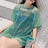 Shiny Net Mesh Short Sleeved Transparent T-Shirt - Green